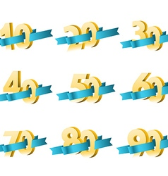 Different digits with ribbons Sale banner template vector