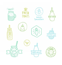 Doodle smoothie badges vector image