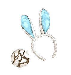 easter bunny ears with cookies on white background vector image