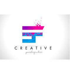 Ef e f letter logo with shattered broken blue vector
