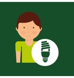 Environment icon boy with bulb energy green vector