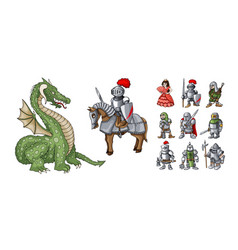 fairy tales cartoon characters fantasy knight and vector image