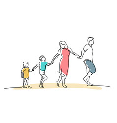 Family walking hand in hand dad mom and two vector