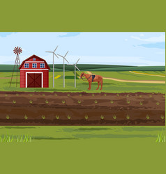 Farm fields countryside label layout vector