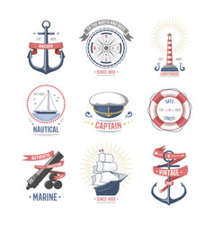 fashion nautical and marine sailing themed label vector image vector image