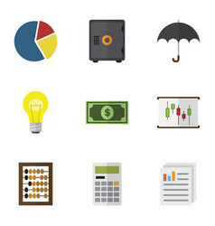 Flat icon incoming set of bubl parasol diagram vector