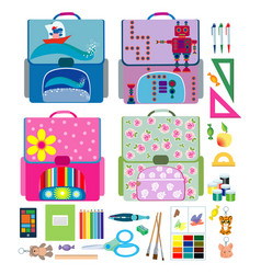 Four school backpacks and school supplies vector
