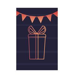 gift garland decoration dark background card vector image