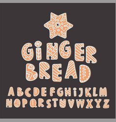 Gingerbread alphabet set merry christmas vector