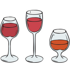 Glasses with wine and brandy vector