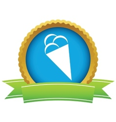 Gold ice cream logo vector image