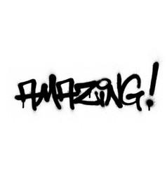 Graffiti amazing word sprayed in black over white vector