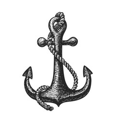 hand-drawn ship anchor and rope vintage sketch vector image