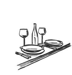 Hand drawn wares romantic dinner for two wine vector