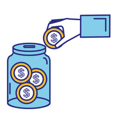 hand saver with glass jar and coins money vector image