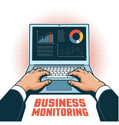 Hands a businessman with a laptop track vector