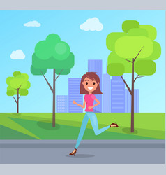 happy girl joyfully runing and laughing in city vector image