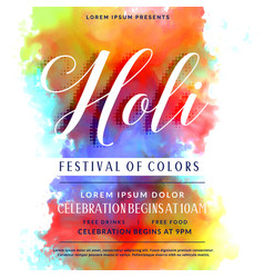 Happy holi celebration invitation background vector