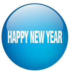 Happy new year blue round gel isolated push button vector