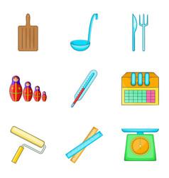 Homework assignment icons set cartoon style vector