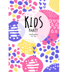 kids party colorful poster with date can be used vector image