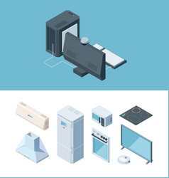 kitchen furniture isometric set two chamber vector image