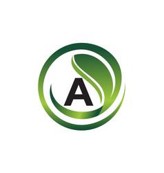leaf initial a logo design template vector image
