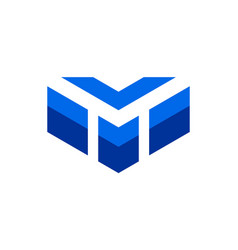letter m down arrow logo icon vector image