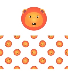 Lion Head Icon And Pattern vector image
