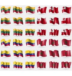 Lithuania Tonga Colombia Morocco Set of 36 flags vector