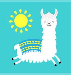 Llama alpaca running jumping sun cute cartoon vector