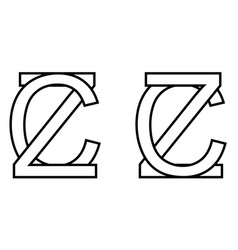 Logo sign zc cz icon sign two interlaced letters z vector