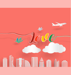 love letter with airplane bird and cloud with vector image