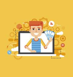 man money in hand online vector image