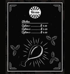 menu restaurant chicken vector image