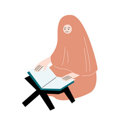 Muslim woman in hijab sitting and reading koran vector