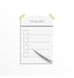 Notebook with to do list vector