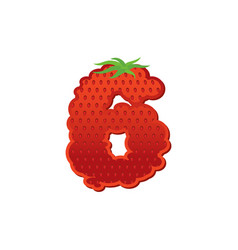Number 6 strawberry font red berry lettering six vector
