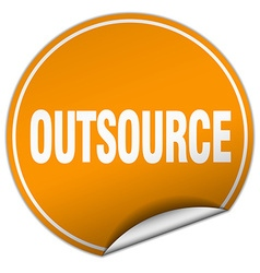 outsource round orange sticker isolated on white vector image