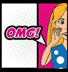 Pop art woman omg comic expression vector