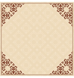quadratic background with ornament in corners vector image