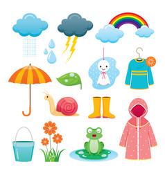 Rainy season icons set vector
