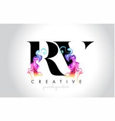 Rv vibrant creative leter logo design with vector