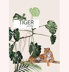 safari party card template vector image