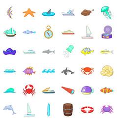 Salty icons set cartoon style vector