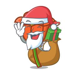 santa with gift poppy flower mascot cartoon vector image