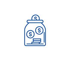 Saving money jar line icon concept saving money vector