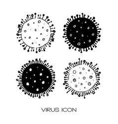 set 4 hand drawn icons coronavirus bacteria vector image