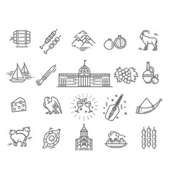 set georgian style icons in flat style vector image
