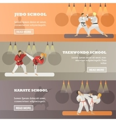 Set horizontal martial arts concept vector